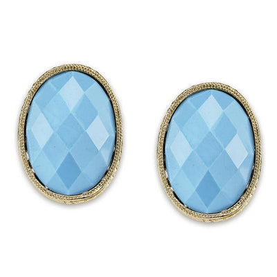 Gold Tone Turquoise Blue Oval Button Earrings