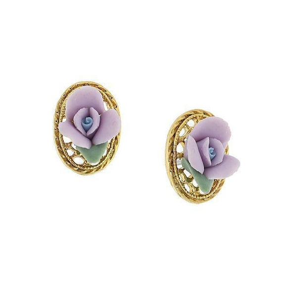14k Gold-Tone Lavender Purple Porcelain Rose Filigree Oval Button Earrings