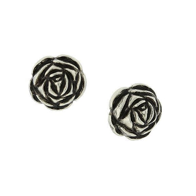 Silver-Tone Flower Button Earrings