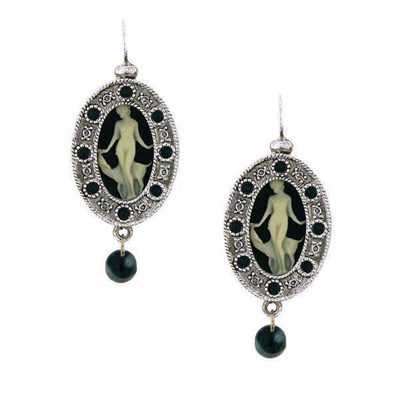 Silver-Tone Grecian Muse Cameo with Black Crystal and Bead Earrings