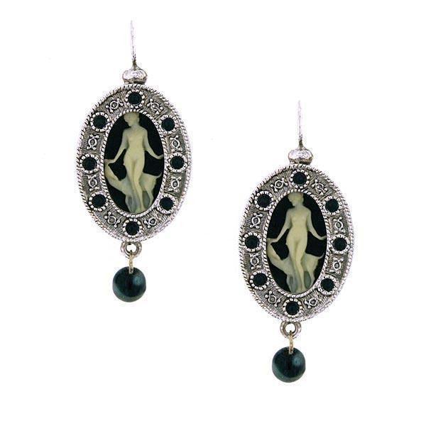 Silver Tone Grecian Muse Cameo With Black Crystal And Bead Earrings