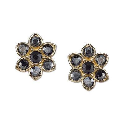 Gold Tone Hematite Color And Black Crystal Flower Button Earrings