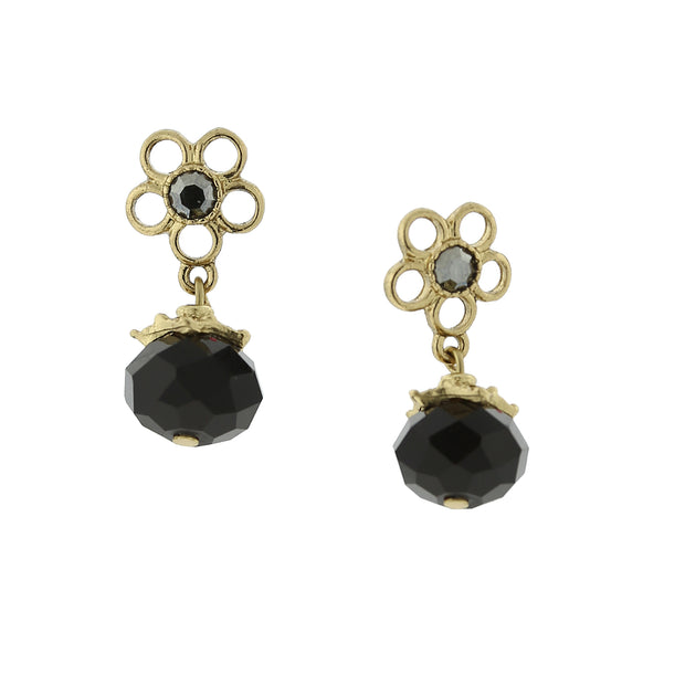 Gold-Tone Black And Hematite Color Crystal Flower Drop Earrings