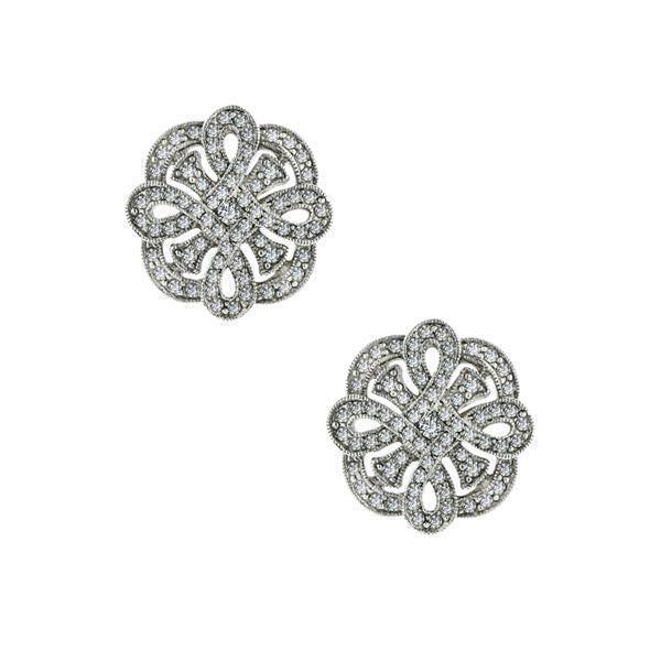 Silver-Tone Pave Crystal Button Earrings