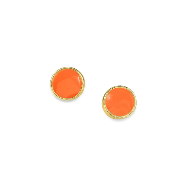 14K Gold Dipped Small Round Enamel Button Earring