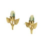 14K Gold-Tone Porcelain Rose Bud Earrings