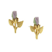 14k Gold-Tone Porcelain Rose Bud Earrings LIGHT PURPLE