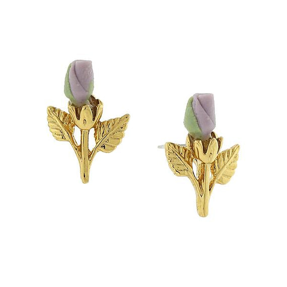 Fashion Jewelry - 14K Gold-Dipped Lavender Purple Porcelain Rose Bud Earrings