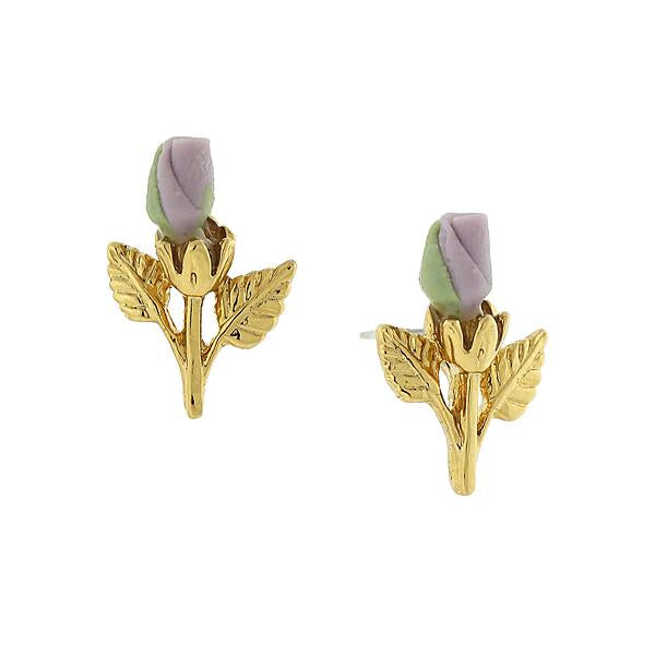 14K Gold Tone Porcelain Rose Bud Earrings Light Purple