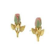 14K Gold Tone Porcelain Rose Bud Earrings Pink