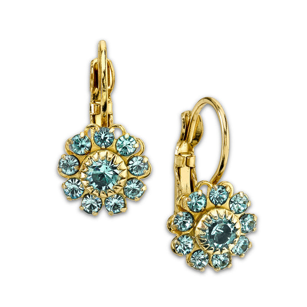 Gold-Tone Aquamarine Color Crystal Flower Drop Earrings