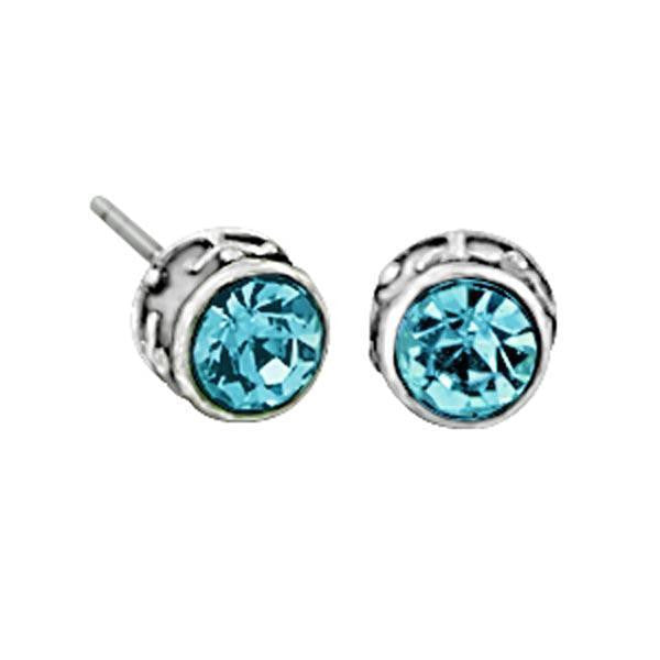Silver Tone Aqua Stud Earrings