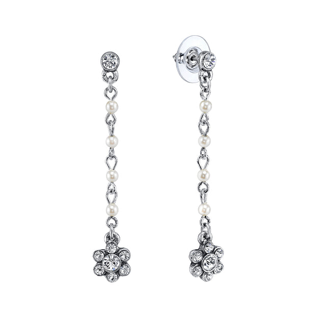 Silver Tone Costume Pearl Crystal Flower Linear Post Earrings