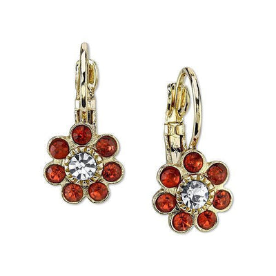 Gold-Tone Pink-Orange Stone And Crystal Flower Drop Earrings