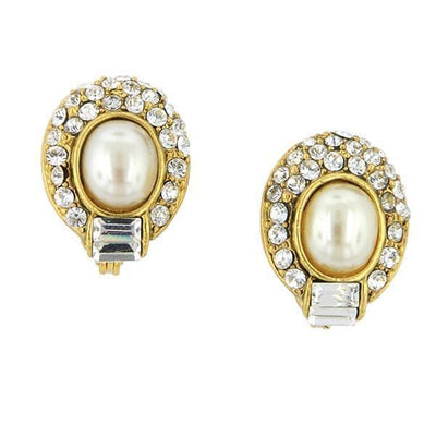 Gold Tone  Costume Pearl Crystal Oval Earrings