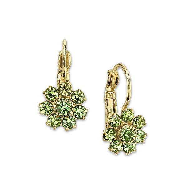 Gold-Tone Peridot Green Color with Crystal Flower Drop Earrings