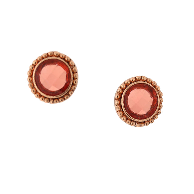 Copper Tone Pink Orange Color Faceted Button Earrings