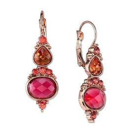 Fashion Jewelry - 2028 Copper Tone Coral Color and Raspberry Drop Earrings