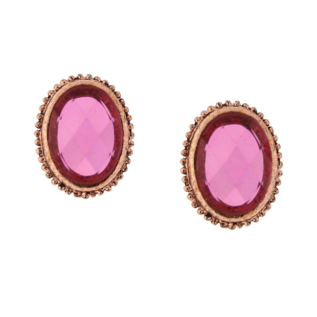 Copper-Tone Raspberry Color Oval Faceted Button Earrings