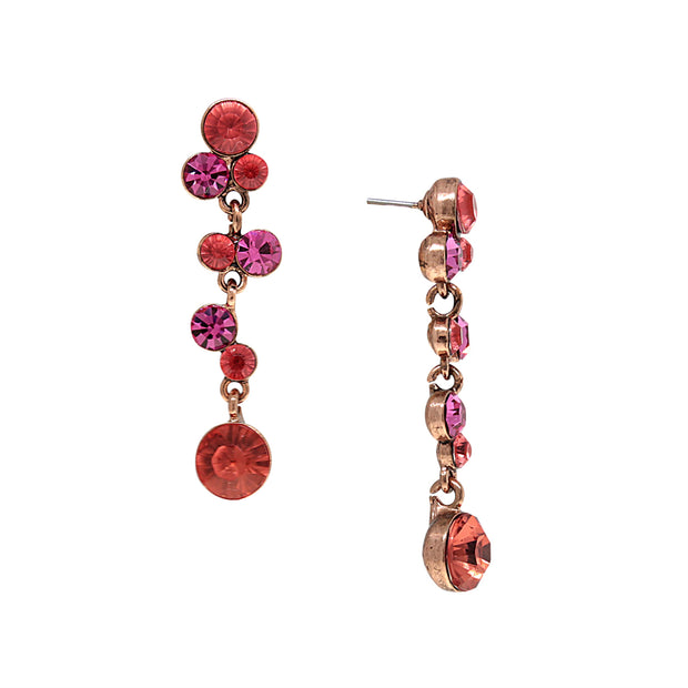 Copper Tone Pink Orange And Raspberry Color Bubble Drop Earrings
