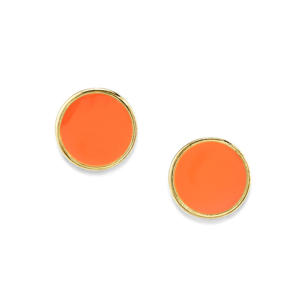 14K Gold Dipped Medium Round Enamel Button Earring Peach