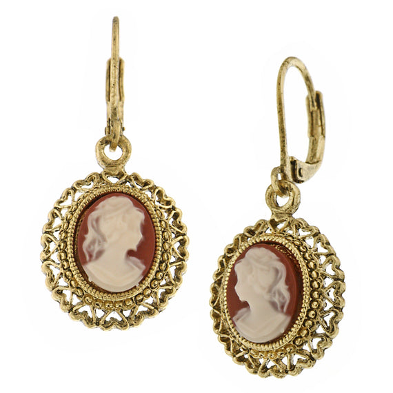 Vintage Escapade Faux Carnelian Cameo Drop Earrings