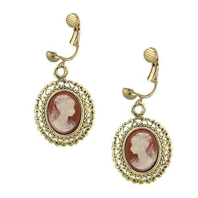Brass Faux Cameo Clip On Earrings