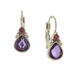 Silver-Tone Light Amethyst Faceted Teardrop Earrings