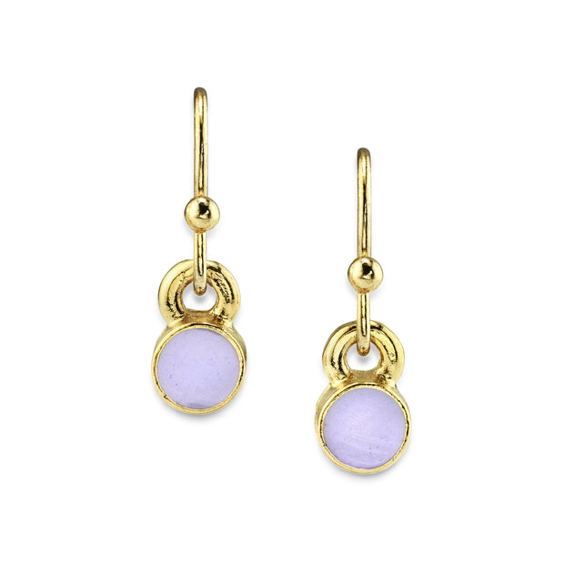 14K Gold Dipped Round Enamel Wire Drop Earrings Light Purple