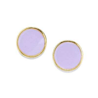 14K Gold Dipped Round Enamel Button Dainty Earring (Large)