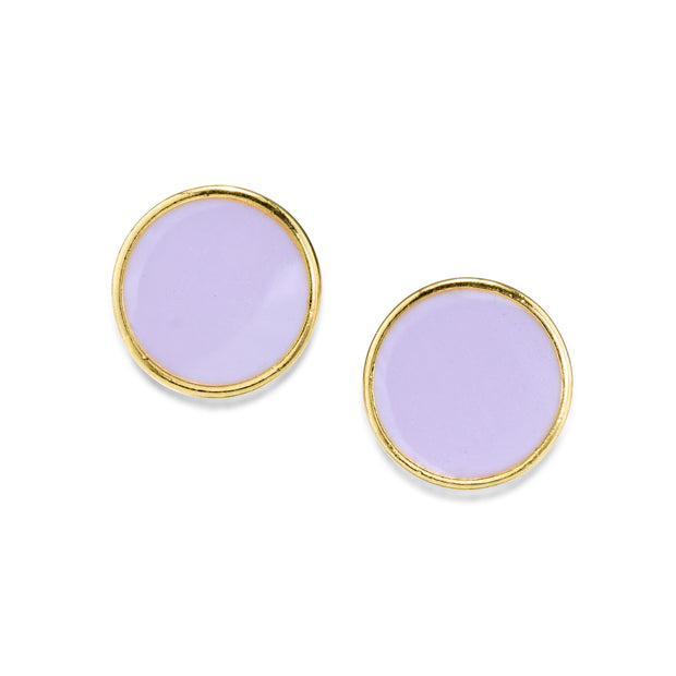 1928 Jewelry 14K Gold Dipped Round Enamel Button Dainty Earring (Large)