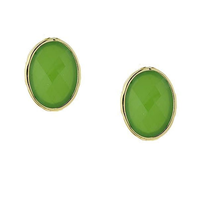 Gold Tone Green Cabachon Oval Button Earrings