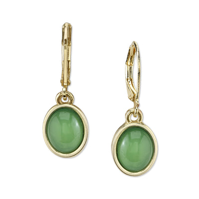 Gold Tone Green Cabachon Oval Drop Earrings