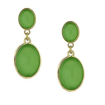 Gold-Tone Green Double Oval Cabachon Drop Earrings
