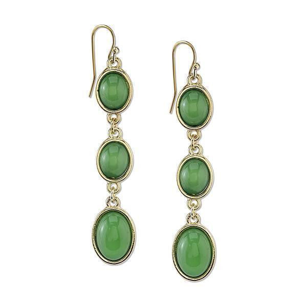 Gold Tone Green Cabachon Linear Drop Earrings