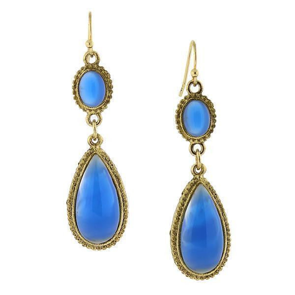 Gold Tone Blue Genuine Mother Of Pearl Pearshape Drop Earrings