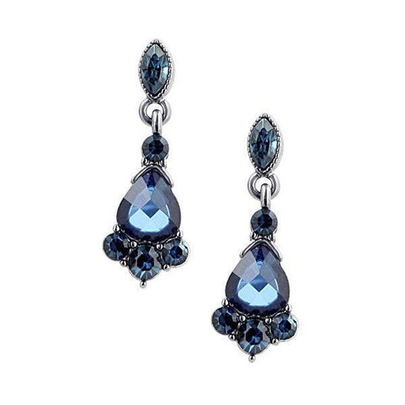 1928 Jewelry: 1928 Jewelry - Victorian-Inspired Jet-Tone Blue Crystal Drop Earrings