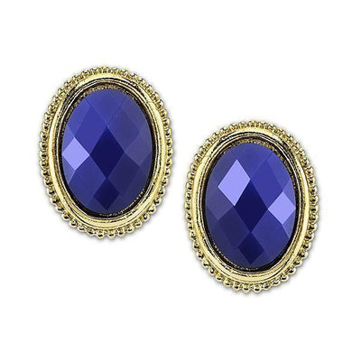 Gold Tone Blue Oval Button Earrings