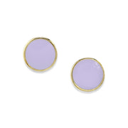 14K Gold Dipped Medium Round Enamel Button Earring