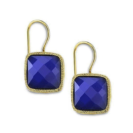 Fashion Jewelry - 2028 Gold-Tone Sapphire Color Square Drop Earrings