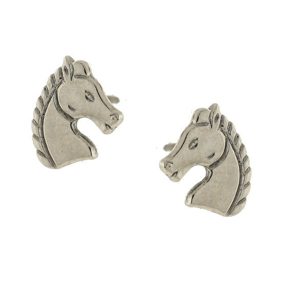 Silver Tone Horse Stud Earrings