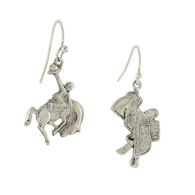 Silver Tone Horse And Saddle Earrings