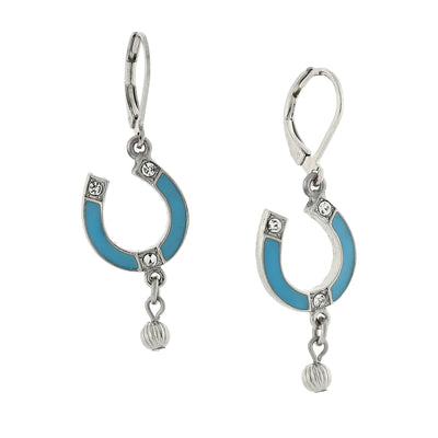 Silver Tone Enamel Turquoise Color With Crystal Accents Horsehoe Drop Earrings