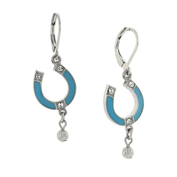 Silver-Tone Enamel Turquoise Color With Crystal Accents Horsehoe Drop Earrings
