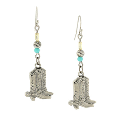Silver Tone And Imitation Turquoise Accent Western Boots Drop Earrings