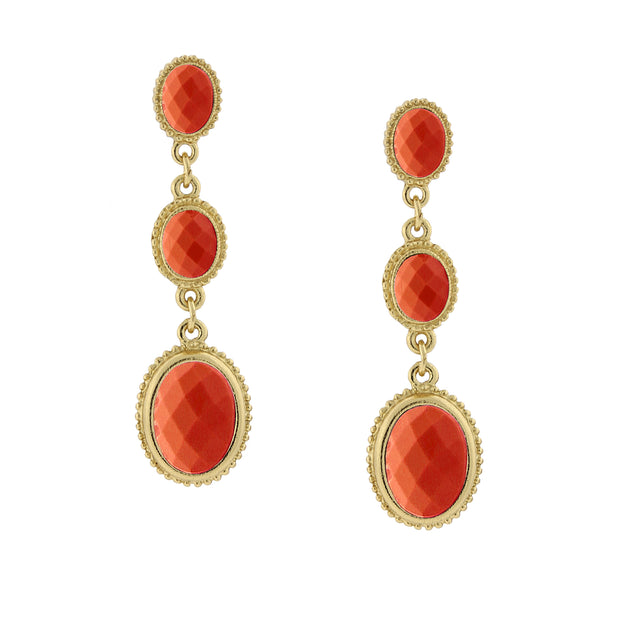Gold Tone Orange Linear Drop Earrings