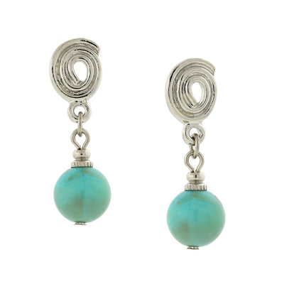 Silver Tone Imitation Turquoise Bead Drop Earrings