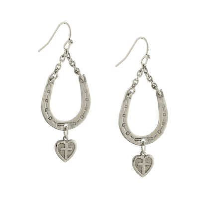 Silver Tone Horseshoe And Heart With Cross Drop Earrings