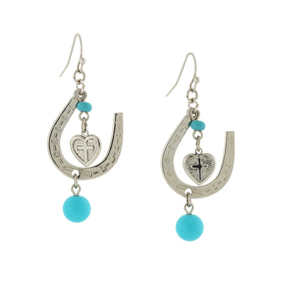Silver Tone Imitiation Turquoise Horseshoe And Suspended Heart Drop Earrings