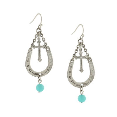Silver Tone With Imitation Turquoise Accent Horseshoe And Cross Drop Earrings